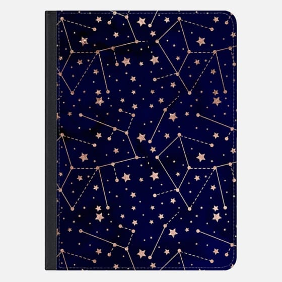 Modern rose gold constellation zodiac stars pattern navy blue watercolor