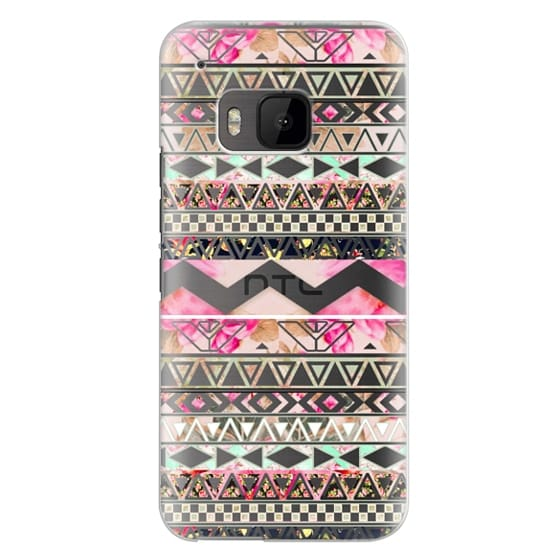 Htc One M9 Cases - Pink floral aztec pattern transparent by Girly Trend
