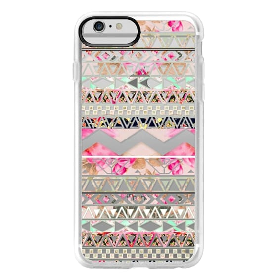 iPhone 6 Plus Cases - Pink floral aztec pattern transparent by Girly Trend