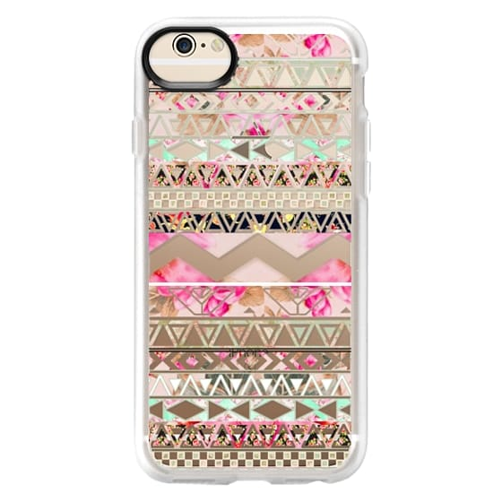 iPhone 6 Cases - Pink floral aztec pattern transparent by Girly Trend