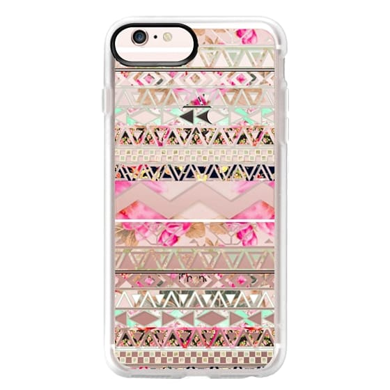 iPhone 6s Plus Cases - Pink floral aztec pattern transparent by Girly Trend