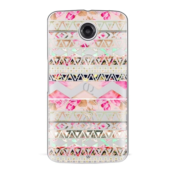 Nexus 6 Cases - Pink floral aztec pattern transparent by Girly Trend