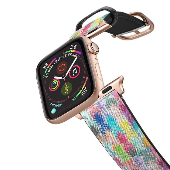 Apple Watch 38mm Bands - Modern bright watercolor pineapples pattern transparent apple watch