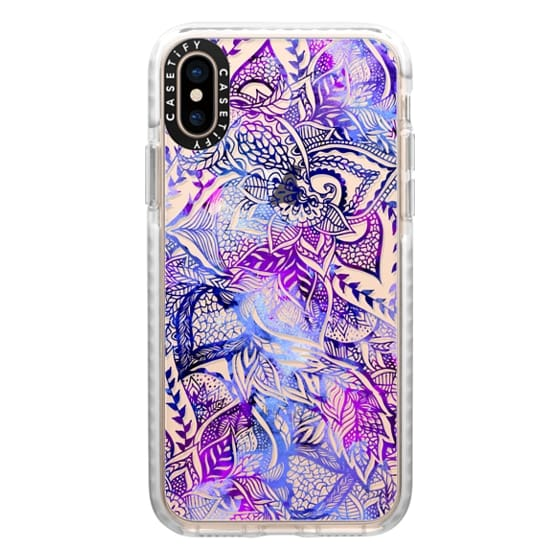 iPhone XS Cases - Purple blue watercolor floral lace mandala hand drawn illustration by Girly Trend