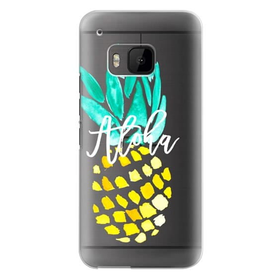 Htc One M9 Cases - Modern yellow turquoise watercolor hand painted pineapple Aloha tropical script typography pattern by Girly Trend