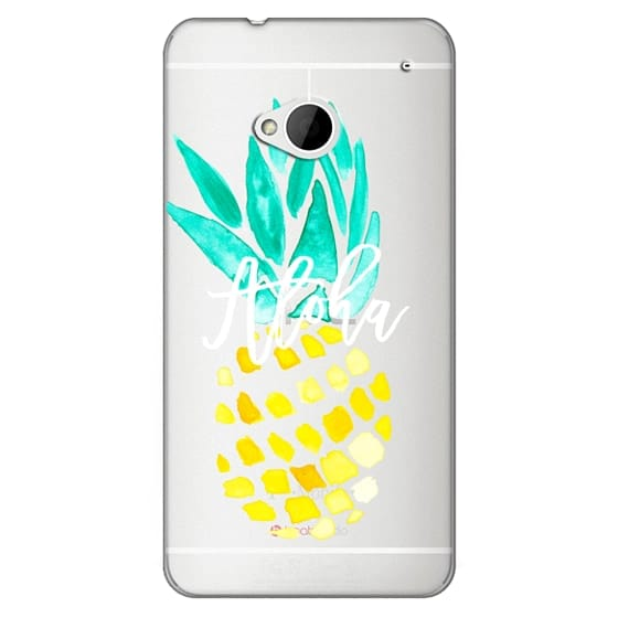 Htc One Cases - Modern yellow turquoise watercolor hand painted pineapple Aloha tropical script typography pattern by Girly Trend