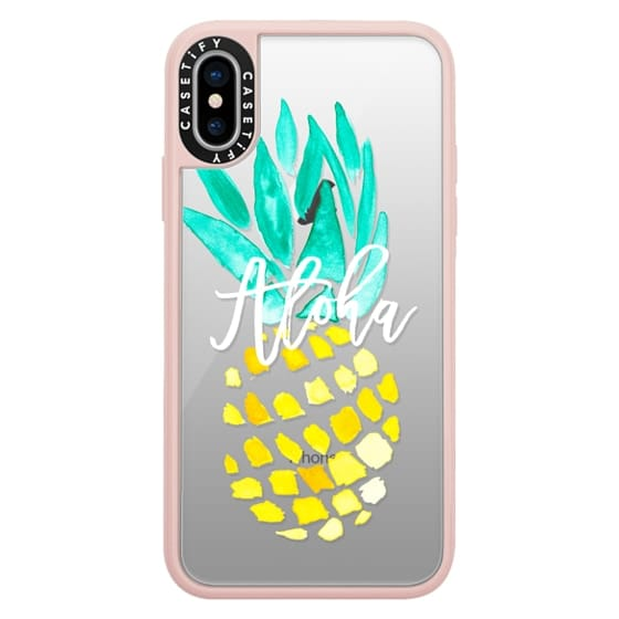 iPhone X Cases - Modern yellow turquoise watercolor hand painted pineapple Aloha tropical script typography pattern by Girly Trend