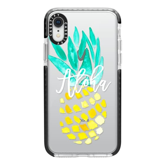 iPhone XR Cases - Modern yellow turquoise watercolor hand painted pineapple Aloha tropical script typography pattern by Girly Trend