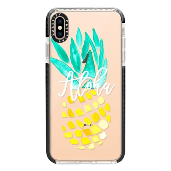 iPhone XS Max Cases - Modern yellow turquoise watercolor hand painted pineapple Aloha tropical script typography pattern by Girly Trend
