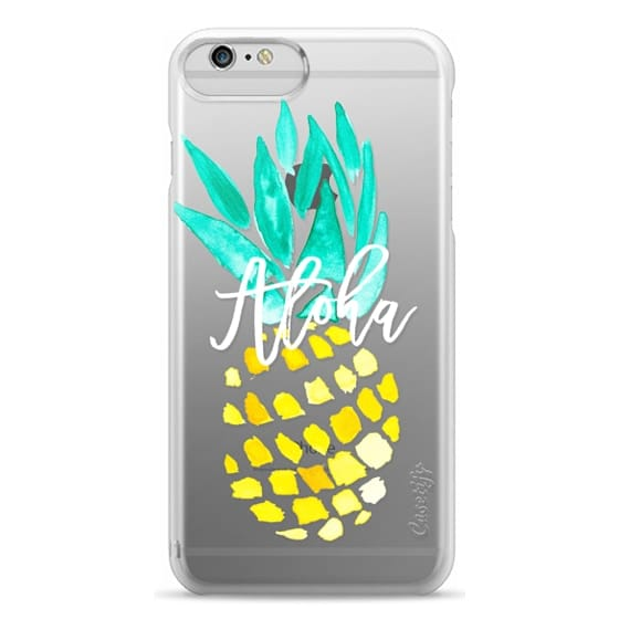 iPhone 6 Plus Cases - Modern yellow turquoise watercolor hand painted pineapple Aloha tropical script typography pattern by Girly Trend