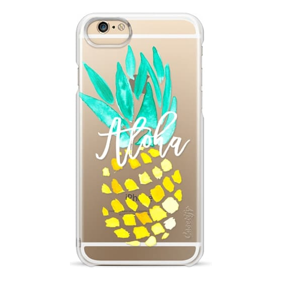 iPhone 6 Cases - Modern yellow turquoise watercolor hand painted pineapple Aloha tropical script typography pattern by Girly Trend