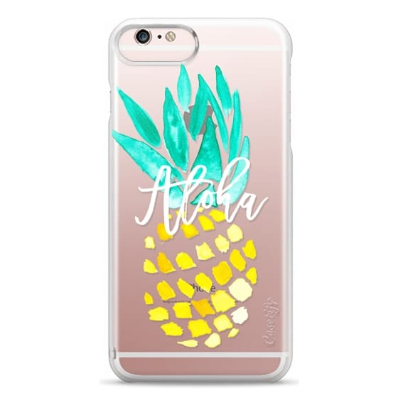 iPhone 6s Plus Cases - Modern yellow turquoise watercolor hand painted pineapple Aloha tropical script typography pattern by Girly Trend