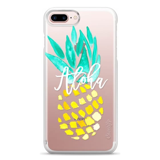 iPhone 7 Plus Cases - Modern yellow turquoise watercolor hand painted pineapple Aloha tropical script typography pattern by Girly Trend