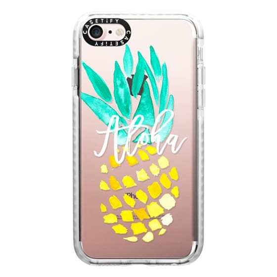 iPhone 7 Cases - Modern yellow turquoise watercolor hand painted pineapple Aloha tropical script typography pattern by Girly Trend