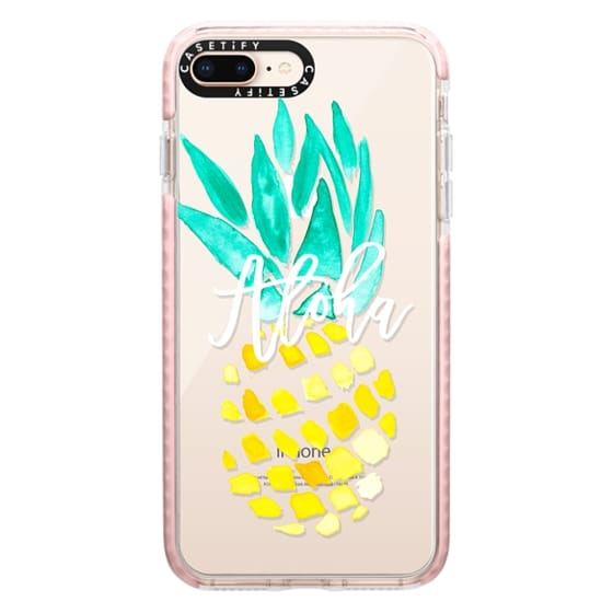 iPhone 8 Plus Cases - Modern yellow turquoise watercolor hand painted pineapple Aloha tropical script typography pattern by Girly Trend