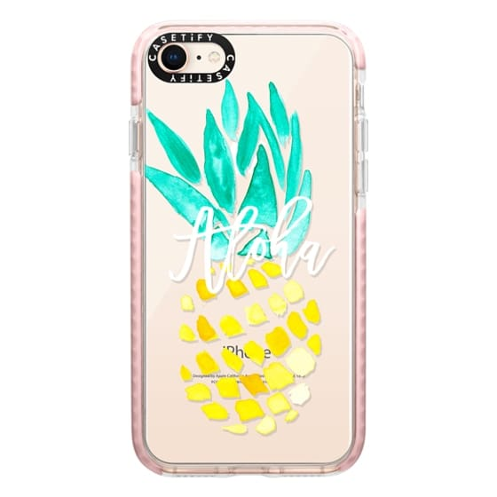 iPhone 8 Cases - Modern yellow turquoise watercolor hand painted pineapple Aloha tropical script typography pattern by Girly Trend