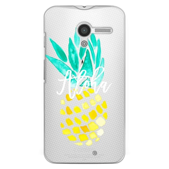 Moto X Cases - Modern yellow turquoise watercolor hand painted pineapple Aloha tropical script typography pattern by Girly Trend