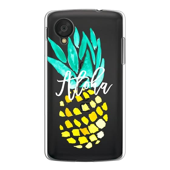 Nexus 5 Cases - Modern yellow turquoise watercolor hand painted pineapple Aloha tropical script typography pattern by Girly Trend