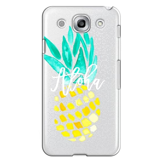 Optimus G Pro Cases - Modern yellow turquoise watercolor hand painted pineapple Aloha tropical script typography pattern by Girly Trend