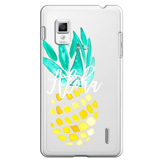 Optimus G Cases - Modern yellow turquoise watercolor hand painted pineapple Aloha tropical script typography pattern by Girly Trend
