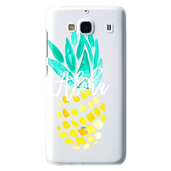 Redmi 2 Cases - Modern yellow turquoise watercolor hand painted pineapple Aloha tropical script typography pattern by Girly Trend