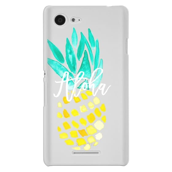 Sony E3 Cases - Modern yellow turquoise watercolor hand painted pineapple Aloha tropical script typography pattern by Girly Trend
