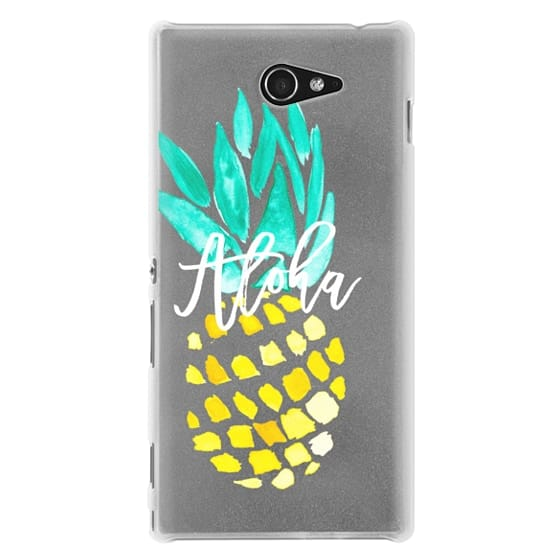 Sony M2 Cases - Modern yellow turquoise watercolor hand painted pineapple Aloha tropical script typography pattern by Girly Trend
