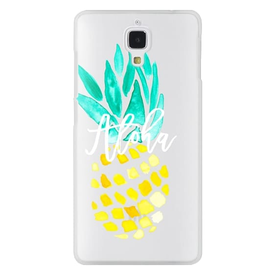 Xiaomi 4 Cases - Modern yellow turquoise watercolor hand painted pineapple Aloha tropical script typography pattern by Girly Trend