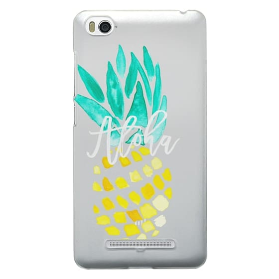 Xiaomi 4i Cases - Modern yellow turquoise watercolor hand painted pineapple Aloha tropical script typography pattern by Girly Trend
