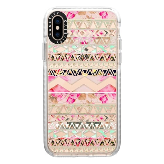 iPhone XS Cases - Pink floral aztec pattern transparent by Girly Trend