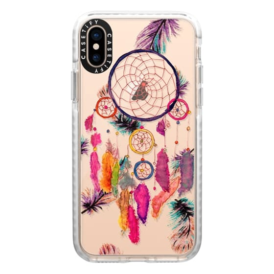 iPhone XS Cases - Modern boho watercolor pink yellow dreamcatcher and feathers pattern hand paint transparent by Girly Trend