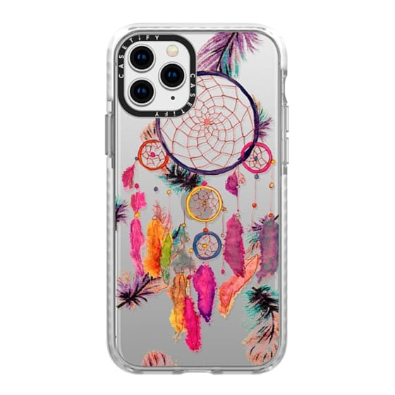 iPhone 11 Pro Cases - Modern boho watercolor pink yellow dreamcatcher and feathers pattern hand paint transparent by Girly Trend
