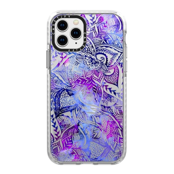 iPhone 11 Pro Cases - Purple blue watercolor floral lace mandala hand drawn illustration by Girly Trend