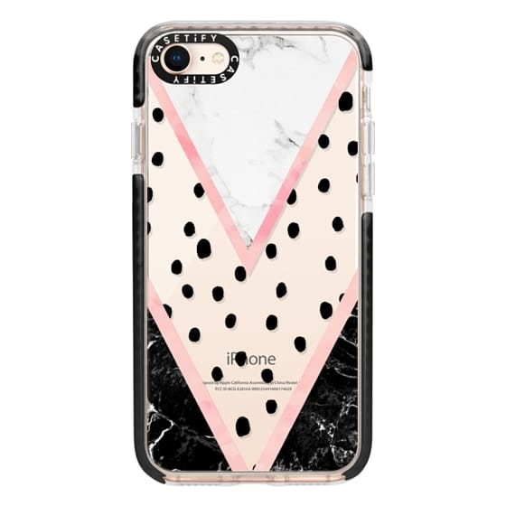 iPhone 8 Cases - Modern pink pastel black white marble polka dots pink blush watercolor chevron color block by Girly Trend