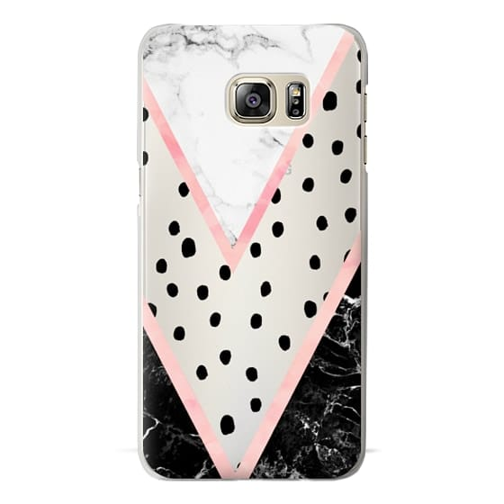 Samsung Galaxy S6 Edge Plus Cases - Modern pink pastel black white marble polka dots pink blush watercolor chevron color block by Girly Trend
