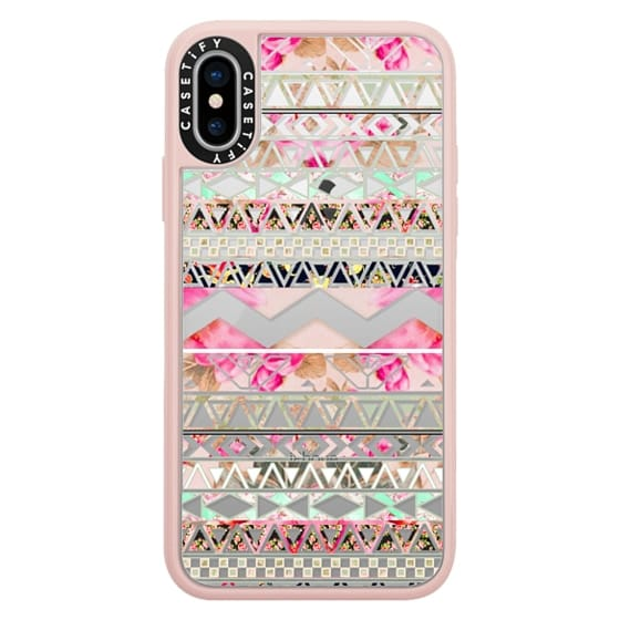 iPhone X Cases - Pink floral aztec pattern transparent by Girly Trend