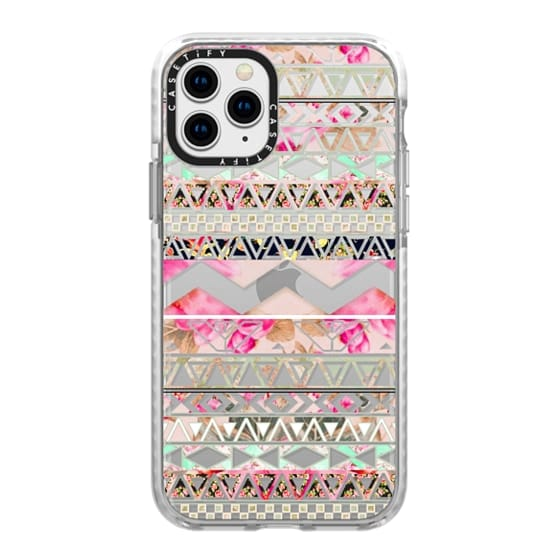 iPhone 11 Pro Cases - Pink floral aztec pattern transparent by Girly Trend
