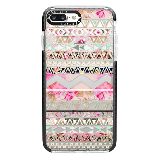 iPhone 7 Plus Cases - Pink floral aztec pattern transparent by Girly Trend