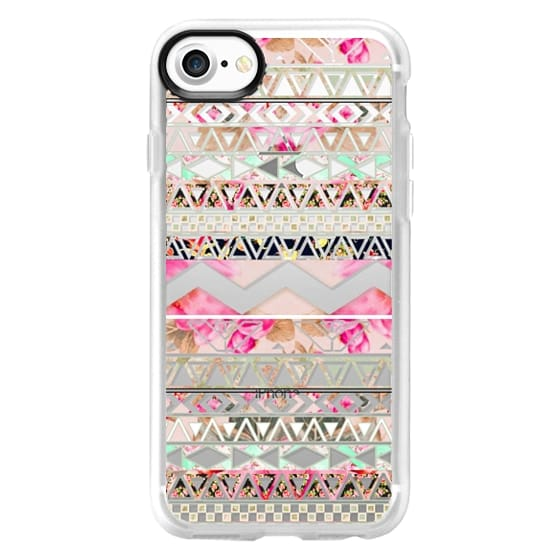iPhone 7 Cases - Pink floral aztec pattern transparent by Girly Trend