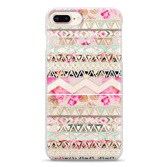 iPhone 8 Plus Cases - Pink floral aztec pattern transparent by Girly Trend