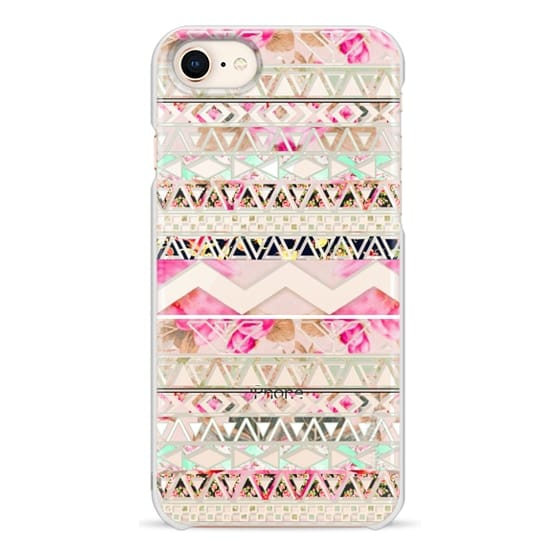 iPhone 8 Cases - Pink floral aztec pattern transparent by Girly Trend