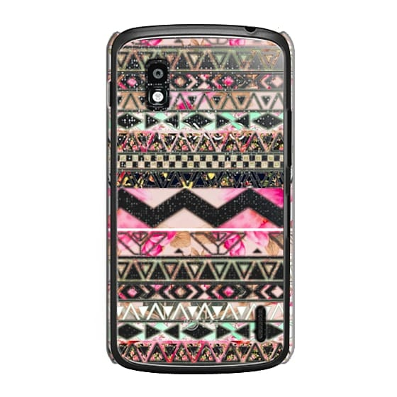 Nexus 4 Cases - Pink floral aztec pattern transparent by Girly Trend