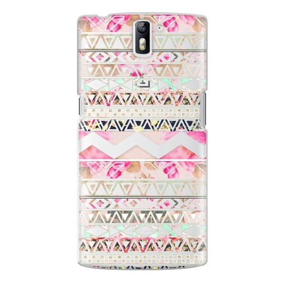 One Plus One Cases - Pink floral aztec pattern transparent by Girly Trend