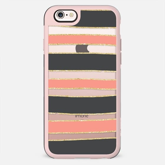 Modern coral gray gold hand drawn stripes pattern by Girly Trend - New Standard Case
