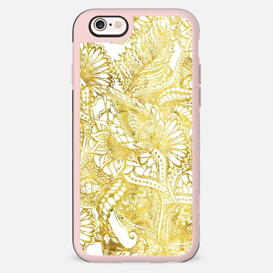 Elegant chic gold foil hand drawn floral pattern by Girly Trend - New Standard Case