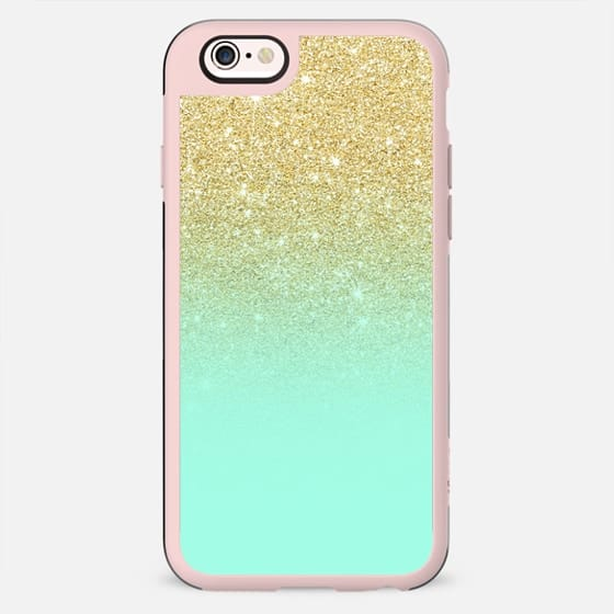 Modern luxurious gold ombre mint green block by Girly Trend - New Standard Case