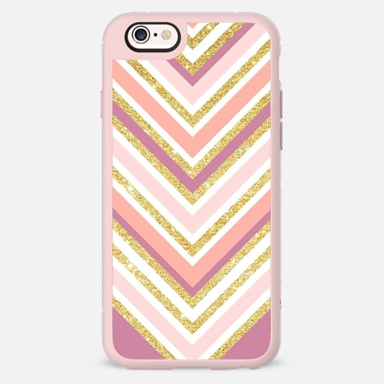 Modern color block pink coral gold boho chevron by Girly Trend -