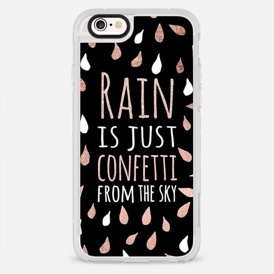 Modern rain is just confetti from the sky rose gold black white typography drops by Girly Trend - New Standard Case