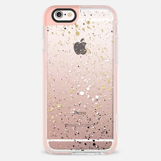 Transparent black white gold glitter paint splatters confetti by Girly Trend - New Standard Pastel Case