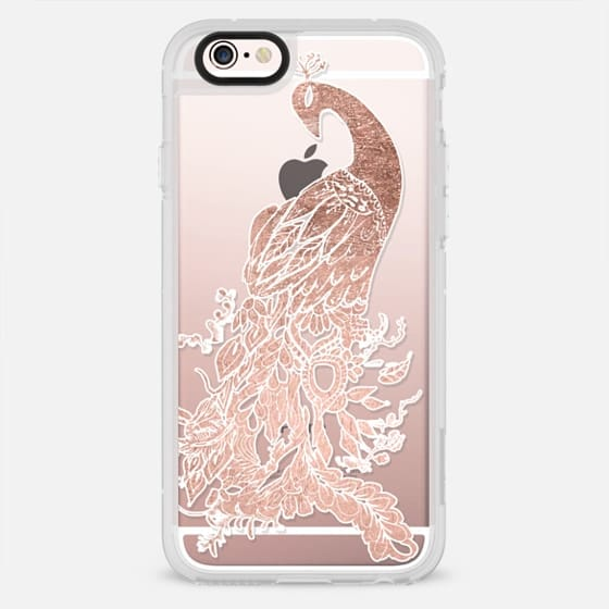 Modern rose gold white hand drawn chic peacock bird illustration by Girly Trend - New Standard Case